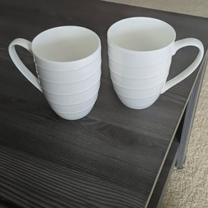 Set of 2 white coffee mugs